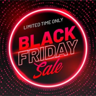 Banner de venda sexta-feira preta com efeito de luz neon