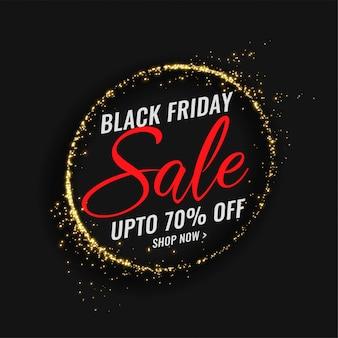 Banner de venda sexta-feira preta com moldura de brilhos