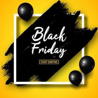 Banner de venda sexta-feira preta com pinceladas de pretas, balões de ar preto e moldura quadrada branca em amarelo.
