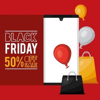 Banner de venda sexta-feira preta com smartphone e sacolas de compras