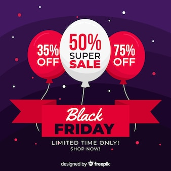 Banner de venda super sexta-feira design plano preto