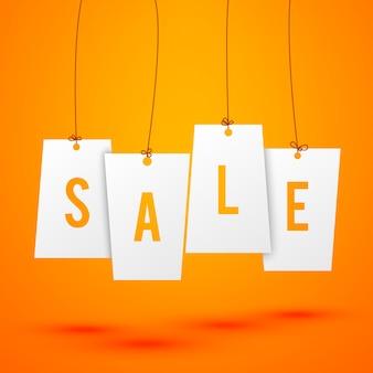 Banner de venda. venda de palavras escrita em etiquetas de papel penduradas