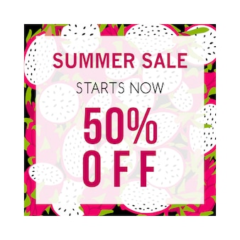 Banner de venda verão colorido com pitaya.