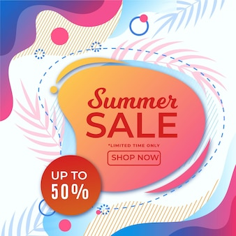 Banner de venda verão colorido