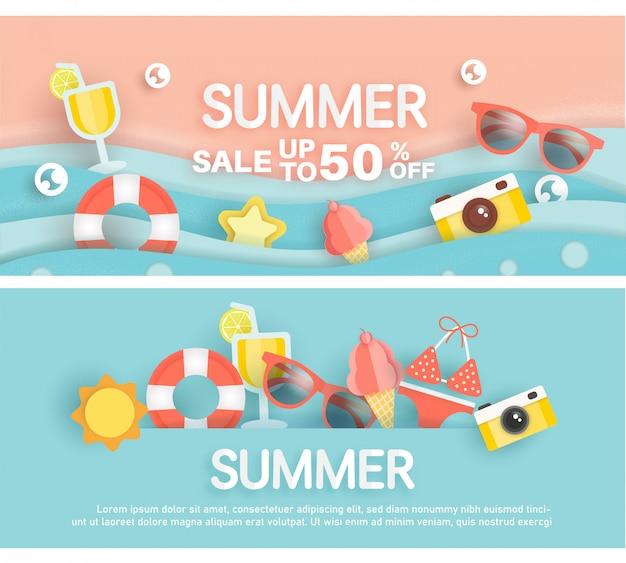 Banner de venda verão com elemento de verão em estilo de corte de papel