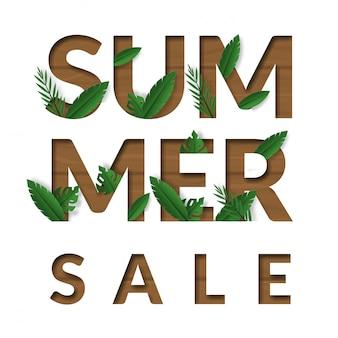 Banner de venda verão com folha tropicla em fundo madeira