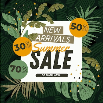 Banner de venda verão com folhas