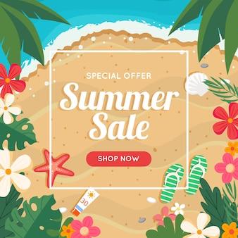 Banner de venda verão com praia e mar, quadro floral.