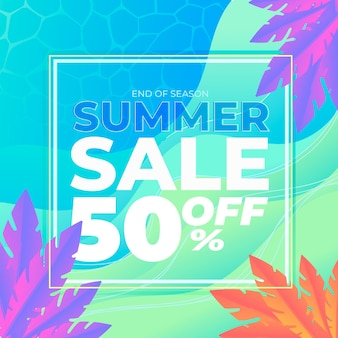 Banner de venda verão multicolorido