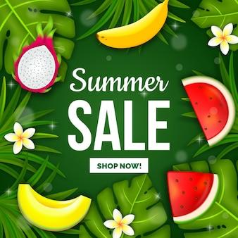 Banner de venda verão realista