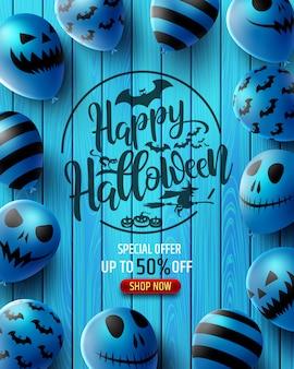 Banner de venda vertical de halloween com balões assustadores