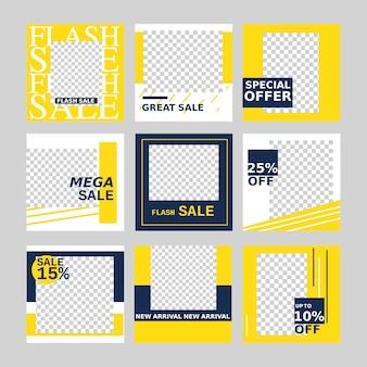 Banner de venda web para promoção de mídia social e marketing com elemento de design minimalista.