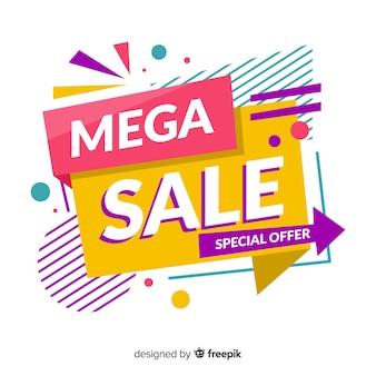 Banner de vendas colorido abstrato