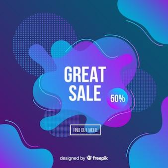 Banner de vendas com fundo de efeito fluido