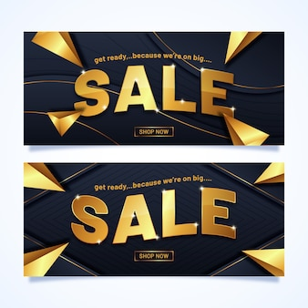 Banner de vendas com letras douradas