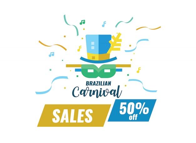 Banner de vendas de carnaval brasileiro.
