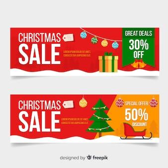 Banner de vendas de elementos de natal