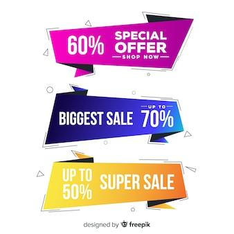 Banner de vendas de formas geométricas coloridas