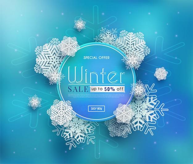 Banner de vendas de inverno com um clima frio sazonal e ilustração ou fundo de flocos de neve brancos