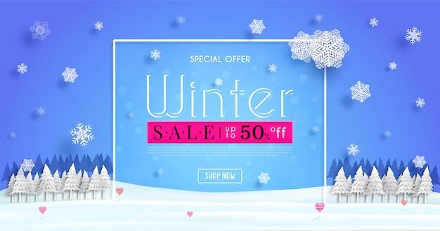 Banner de vendas de inverno com um clima frio sazonal e ilustração ou fundo de publicidade de inverno de conceito