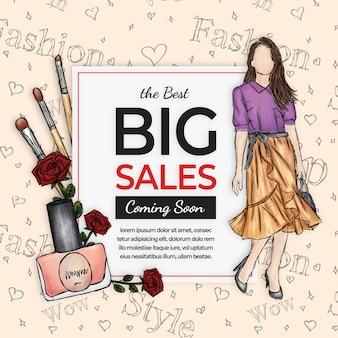 Banner de vendas de moda feminina