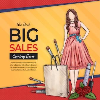 Banner de vendas de moda grande