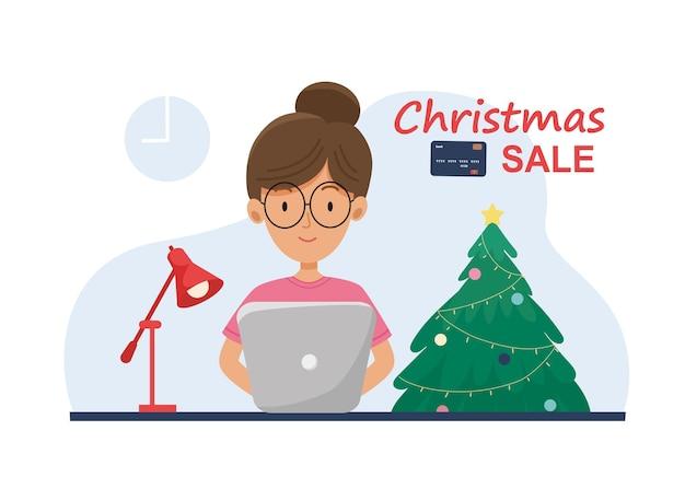 Banner de vendas de natal. garota está fazendo compras, apresenta online pôster de natal de plano de fundo, cartão de felicitações, ilustração para site