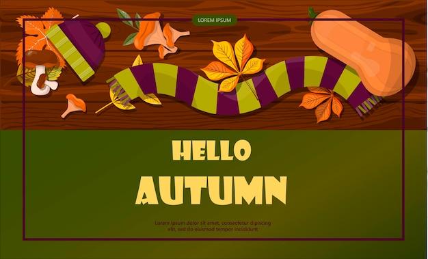Banner de vendas de outono de vetor brilhante olá, outono modelo de design plano