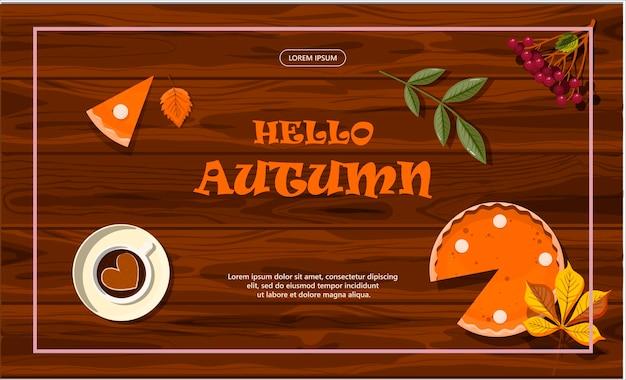 Banner de vendas de outono de vetor brilhante publicidade promoção de desconto de compras modelo de design plano