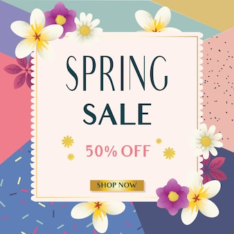 Banner de vendas de primavera