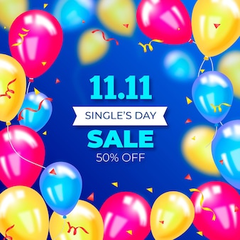 Banner de vendas do dia de solteiros em balões coloridos