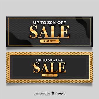 Banner de vendas dourado realista