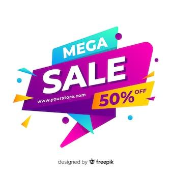 Banner de vendas em estilo colorido abstrato