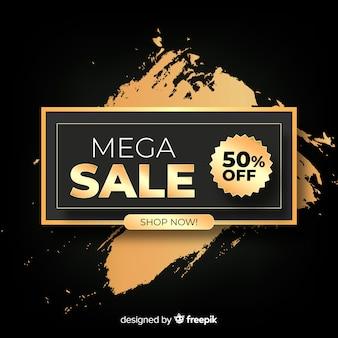 Banner de vendas em estilo dourado