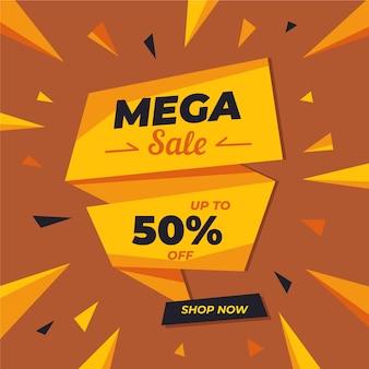 Banner de vendas estilo origami