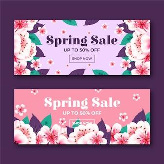 Banner de vendas flores desabrocham gradiente primavera