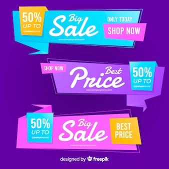 Banner de vendas geométricas de origami