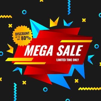 Banner de vendas no conceito de origami
