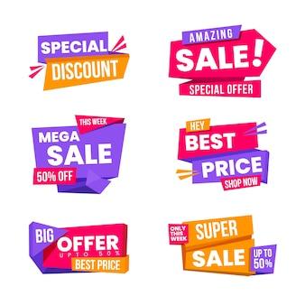 Banner de vendas no design de estilo origami