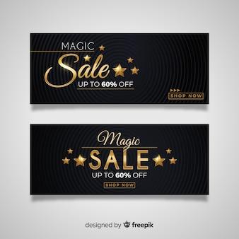 Banner de vendas no estilo de luxo dourado