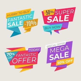 Banner de vendas no estilo origami