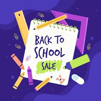 Banner de vendas plano de volta à escola
