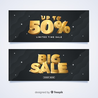 Banner de vendas preto com detalhes dourados