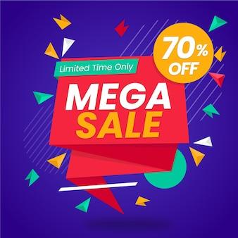 Banner de vendas promocionais no estilo origami