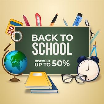 Banner de vendas realista de volta à escola