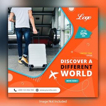 Banner de vendas sociais de viagens viagens