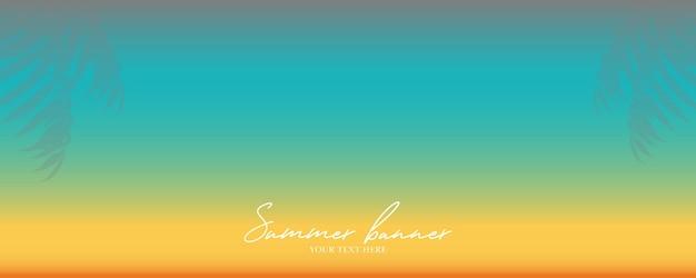 Banner de verão abstrato com folhas de palmeira e cor gradiente
