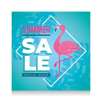 Banner de verão. animal flamingo. liquidação de verão