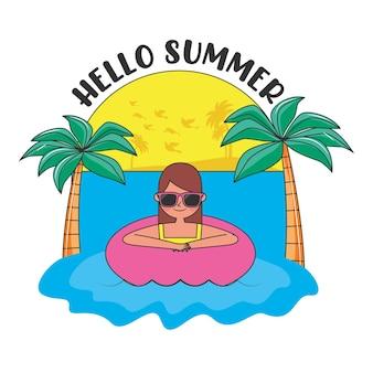 Banner de verão com a mulher nos desenhos animados da praia. ilustração em vetor