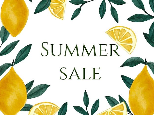 Banner de verão com aquarela de limão e folhas